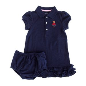 ワンピース キッズ ベビー ラルフローレン POLO RALPH LAUREN GIRLS ruffled polo bear cotton dress 2piece NAV|etny