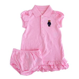 ワンピース キッズ ベビー ラルフローレン POLO RALPH LAUREN GIRLS ruffled polo bear cotton dress 2piece PI|etny