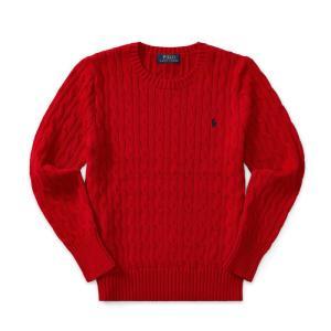 ラルフローレン セーター ボーイズ ケーブルニット レッド 赤 POLO RALPH LAUREN BOYS cable-knit cotton sweater RED (BOYS M)|etny
