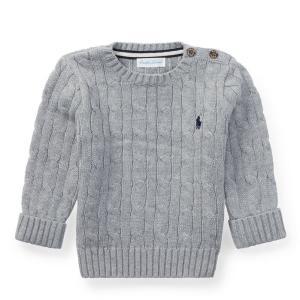 ラルフローレン ボーイズ セーター グレー 2歳 POLO RALPH LAUREN BOYS cable-knit cotton sweater GREY|etny