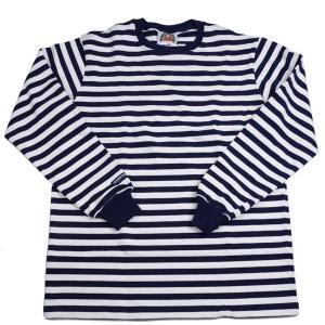 バーバリアン メンズ 長袖クルーネックラガーシャツ NFE-06 12オンス ヘビーウエイトコットン100% ボーダー ネイビーxホワイト|eton