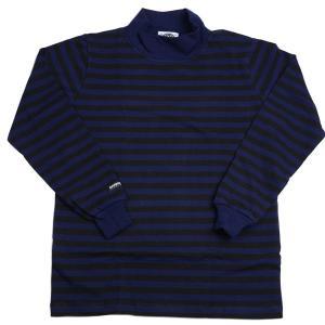 バーバリアン メンズ 長袖モックネックラガーシャツ OFE-16 8オンス ライトウエイトコットン100% ボーダー ブラックxネイビー|eton
