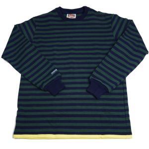バーバリアン メンズ BARBARIAN MEN'S 長袖クルーネックラガーシャツ PFE-04 12オンス ヘビーウエイトコットン100% ボーダー グリーンxネイビー+イエロー|eton