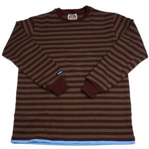 バーバリアン メンズ BARBARIAN MEN'S 長袖クルーネックラガーシャツ PFE-05 12オンス ヘビーウエイトコットン100% ボーダー オリーブxエンジ+スカイPFE|eton