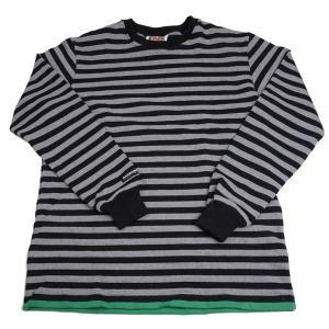 バーバリアン メンズ BARBARIAN MEN'S 長袖クルーネックラガーシャツ PFE-06 12オンス ヘビーウエイトコットン100% ボーダー ブラックxオックゥフォード+ケリー|eton