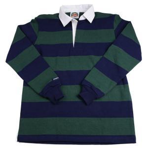 バーバリアン メンズラガーシャツ レギュラーカラー長袖 3インチ ボーダー 12oz ヘビーウエイトコットン100% クラシックモデル ネイビー・ボトル|eton