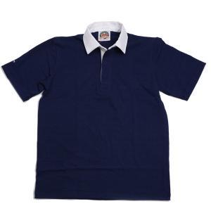 バーバリアン BARBARIAN 半袖 ネイビー 無地 ラガーシャツ LSS-03 ライトウエイト8オンスUSA産コットン100%|eton