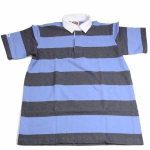 バーバリアン BARBARIAN 半袖3インチボーダー チャコール x ブルー レギュラーカラーラガーシャツ QSE-08 ライトウエイト8オンスUSA産コットン100%|eton