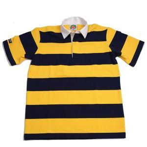 バーバリアン BARBARIAN 半袖3インチボーダー ネイビー x ゴールド レギュラーカラーラガーシャツ RSE-11 ライトウエイト8オンスUSA産コットン100%|eton