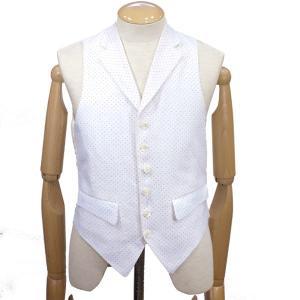 ブリストル テイラー(Bristol Tailor)《メンズ春夏オッド・ベスト/ラペル付ウェストコート、フレンチリネン(66/-NOLMANDY FRENCH LINEN)》白xブルードット|eton