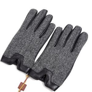 デンツ メンズ ヘアシープ(羊革) X ハリスツイード グローブ(革手袋)カシミアライニング ヘリンボーン チャコール|eton