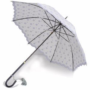フォックス・アンブレラズ レディース FOX UMBRELLAS WL1 日傘 UVカット 晴雨兼用パラソル 革巻きハンドル 幾何学刺繍 ホワイト|eton