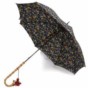 フォックス・アンブレラズ レディース FOX UMBRELLAS WL4 ワンギーハンドル傘 UVカット 晴雨兼用 リバティプリント「エデナム」 ネイビー系|eton