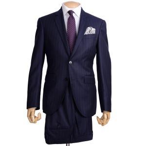 秋冬 ハケット ロンドン メンズ HM421870 ビジネススーツ シングル2ボタンノッチドラペル ブリテッシュスタイルモデル チョークストライプ ネイビー|eton