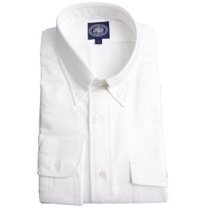 Jプレス メンズ J.PRESS MEN'S アービング ボタンダウンシャツ 長袖ヴィンテージオックス パッチ&フラップポケット付 ホワイト|eton