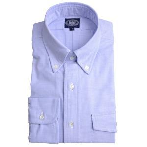 Jプレス メンズ J.PRESS MEN'S アービング ボタンダウンシャツ 長袖ヴィンテージオックス パッチ&フラップポケット付 ブルー|eton