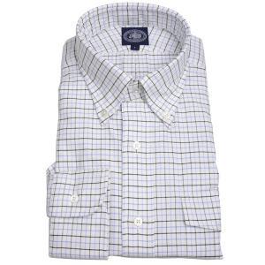 Jプレス メンズ J.PRESS MEN'S アービング ボタンダウンシャツ 長袖ヴィンテージオックス タッターソール パッチ&フラップポケット付 ブルー系|eton