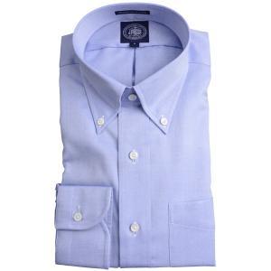 Jプレス メンズ J.PRESS MEN'S ボタンダウンシャツ 80/2スーピマピンオックス プレミアムプリーツ(形態安定機能)ブルー|eton