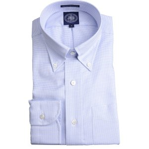 Jプレス メンズ J.PRESS MEN'S ボタンダウンシャツ 80/2スーピマコットン ピンヘッド プレミアムプリーツ(形態安定機能)ブルー|eton