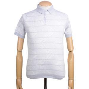 春夏 ジョンスメドレー メンズ JOHN SMEDLEY MENS 半袖ポロシャツ「ハーマン」シーアイランドコットン ジャカードストライプ 英国王室御用達 グレー eton