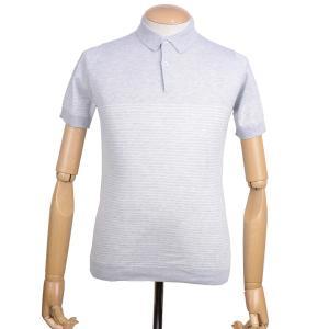 春夏 ジョンスメドレー メンズ JOHN SMEDLEY MENS 半袖ポロシャツ「キーファー」シーアイランドコットン ナバルボーダーニット 英国王室御用達 グレー eton