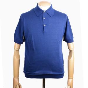 春夏 ジョンスメドレー メンズJOHN SMEDLEY 半袖ポロニットシャツ S3798 インディゴ シーアイランドコットンニット無地 英国王室御用達 日本別注モデル eton