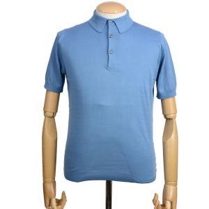 春夏 ジョンスメドレー メンズJOHN SMEDLEY 半袖ポロニットシャツ S3798 デュードロップ ブルー シーアイランドコットンニット無地 英国王室御用達 eton