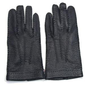 デンツ(DENTS)《No.15-1041 メンズ用グローブ(手袋/glove)ペッカリー(南米の猪豚科/幻の革・独特のしぼ感のある革/Peccary)ライニングなし》BLACK|eton