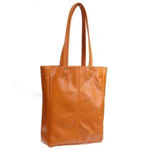 タスティング(TUSTING) 超軽量シューレザー(バッファロー/仔水牛革)のスチルトンM トートバッグ 折たたみ可能の一枚革 ORANGE(オレンジ)|eton