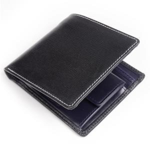 ホワイトハウスコックス WhitehouseCox s7532 コインケース付二つ折り財布 ブラックxネイビー リージェントブライドルレザー ツートン eton