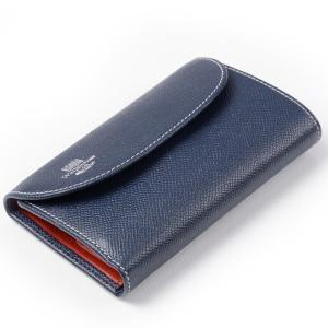 ホワイトハウスコックス s7660 三つ折小銭入れ付財布(ユニセックスウォレット)ロンドンカーフxブライドルレザー 新作ツートンカラー ネイビーxレッド eton