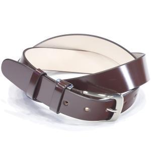 キース KIETH シェルコードバンフリーサイズ一枚革ベルト ブラウン 96cmまで対応 ノンステッチ シルバーバックル ドレス用 スーツ用 eton