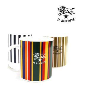 イルビゾンテ IL BISONTE ロゴ入り ストライプ柄 マグカップ・5432404198-0061402