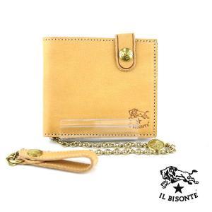 イルビゾンテ IL BISONTE レザー チェーン付き 二つ折り財布・5432404640 ・10041098