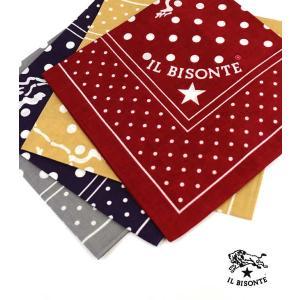 イルビゾンテ IL BISONTE コットン ロゴ ドット スカーフ バンダナ・5442409298-0061501 メール便可能1|etre