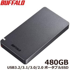 ポータブルSSD バッファロー SSD-PGM480U3-B/N [ポータブルSSD USB3.2 ...