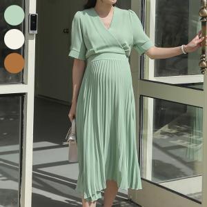 授乳服 カシュクール マタニティ ワンピース 半袖 夏 プリーツ ドレス フォーマル 低身長 産後 妊婦服/SDM12004|ette