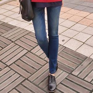 マタニティ デニム 安い アジャスター ストレート ダメージ 大きいサイズ 妊婦服 メール便可/SOB7007|ette