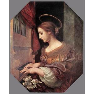 油絵 Carlo Dolci_オルガンを弾く聖セシリア|eurasia-art