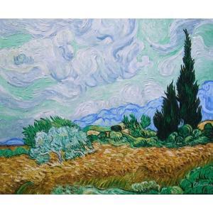 特価油絵 ゴッホの名作「糸杉と麦畑」|eurasia-art