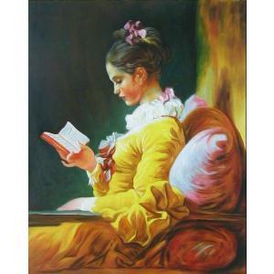 油絵  フラゴナールの名作「読書する娘」|eurasia-art