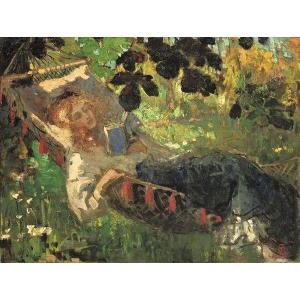 油絵  Robert-Archibald Graafland_ハンモッグで読書する少女|eurasia-art