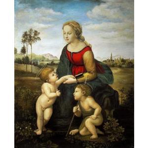 油絵 ラファエロの名作「美しき女庭師」 正式名「聖母子と幼児聖ヨハネ」|eurasia-art