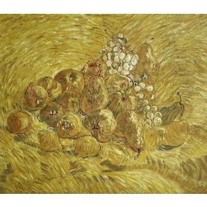 油絵  ゴッホの名作_ブドウ、セイヨウナシ、レモンのある静物|eurasia-art