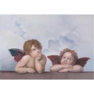 油絵  ラファエロの名作「見つめる二人のエンジェル」 「シストの聖母」の部分絵|eurasia-art