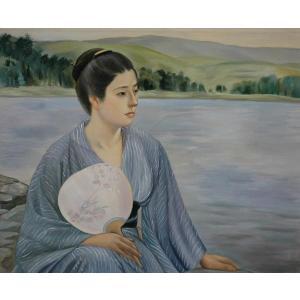 特価油絵  黒田清輝の名作「湖畔」|eurasia-art