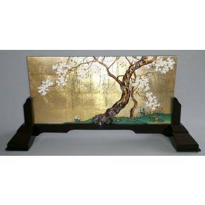 漆絵 酒井抱一の名作「桜図」 専用スタンド付|eurasia-art