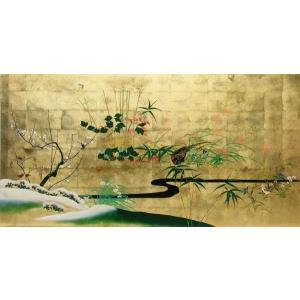 漆絵 酒井抱一の名作「四季花鳥図」左隻|eurasia-art