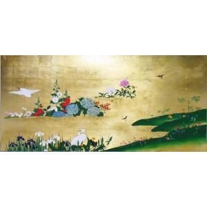漆絵 酒井抱一の名作「四季花鳥図」右隻|eurasia-art