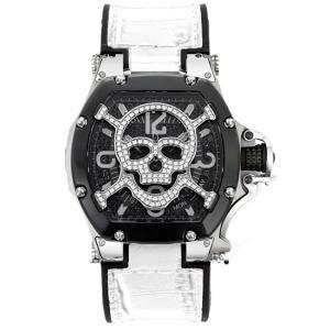 アクアノウティック キングクーダ トノー 3H TN3H00WBSKLJ03 スカルマスク ダイアモンド 腕時計 メンズ 白ベルト AQUANAUTIC King Cuda TONNEAU|euro